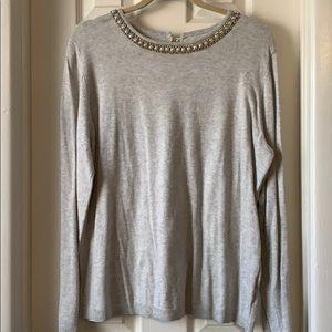 ELLE gray dress sweater pearls rhinestones XL